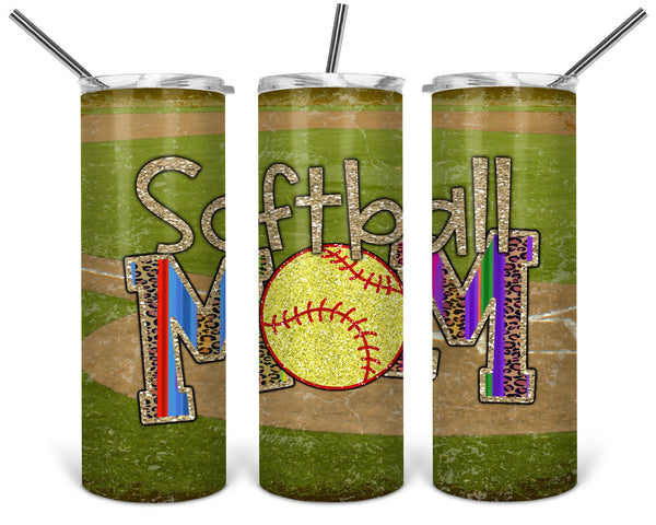 Softball Mom Straight or Tapered 20 oz Skinny Tumbler Sublimation Transfer  BMP099