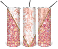 Pink Glitter Straight or Tapered 20 oz Skinny Tumbler Sublimation Transfer  BMP101
