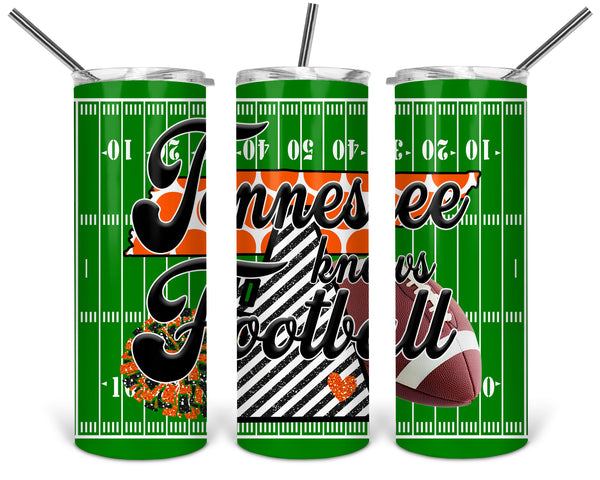 Tennessee Knows Football Straight or Tapered 20 oz Skinny Tumbler Sublimation Transfer  BMP111