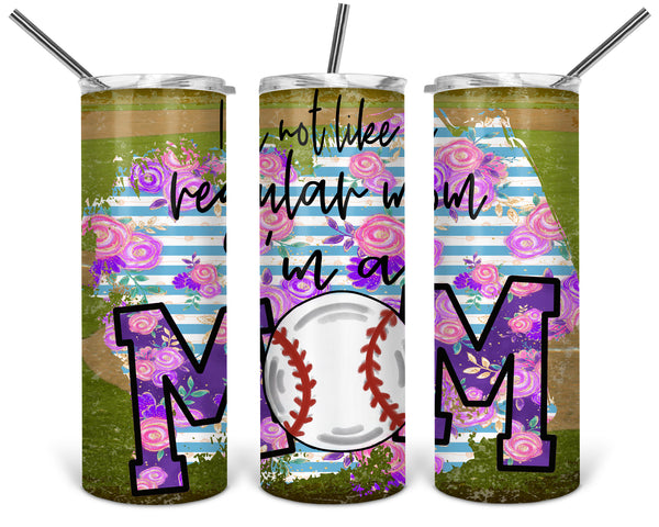 Baseball Mom Straight or Tapered 20 oz Skinny Tumbler Sublimation Transfer  BMP124