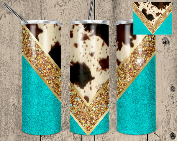 Cowhide and Glitter Tumbler .60 Saturday Sublimation Transfer