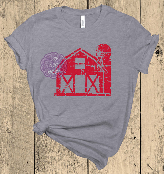Red Barn Screenprint Transfer K6
