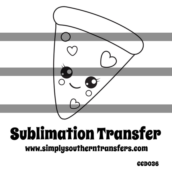 Pizza Coloring Page Sublimation Transfer CCD036
