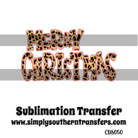 Leopard Print Merry Christmas Sublimation Transfer CDS050