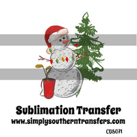 Golf Snowman Sublimation Transfer CDS071