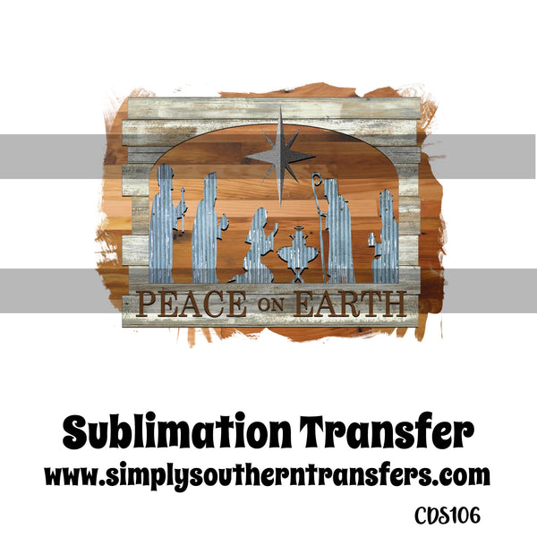 Peace on Earth Sublimation Transfer CDS106