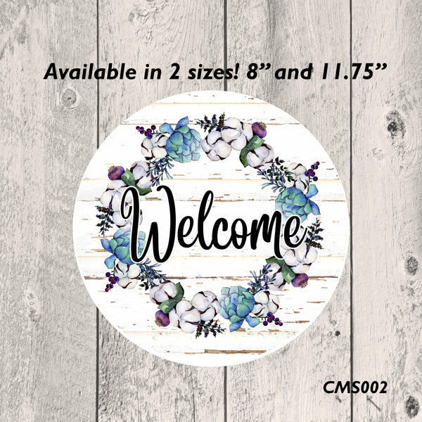Cotton Welcome Metal Sign