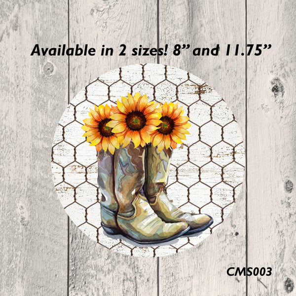 Country Boots Metal Sign