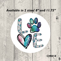 Paw Print Love Metal Sign
