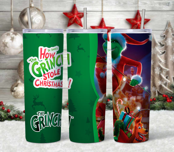 Grinch Pattern 20 oz Double Walled Insulated Tumbler. CTD002