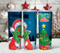 Grinch Straight or Tapered 20 oz Skinny Tumbler Sublimation Transfer  CTD007