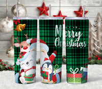 Merry Christmas Plaid Straight or Tapered 20 oz Skinny Tumbler Sublimation Transfer  CTD023