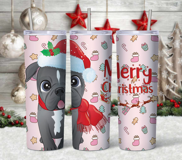 Pit Bull Merry Christmas Straight or Tapered 20 oz Skinny Tumbler Sublimation Transfer  CTD031