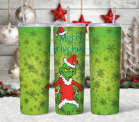 Grinch Pattern 20 oz Double Walled Insulated Tumbler CTD032