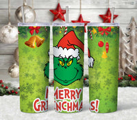 Grinch Pattern 20 oz Double Walled Insulated Tumbler CTD034