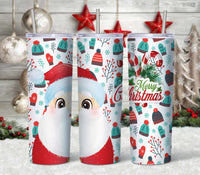 Santa Straight or Tapered 20 oz Skinny Tumbler Sublimation Transfer  CTD037