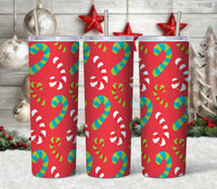 Candy Cane Patterned Christmas 20 oz Double Walled Insulated Tumbler CTD073