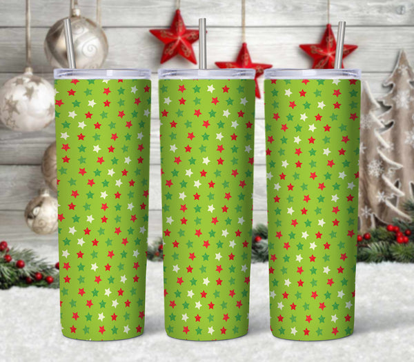 Stars Patterned Christmas 20 oz Double Walled Insulated Tumbler CTD074