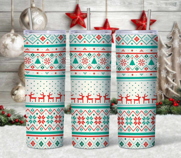 Christmas Stitch 20 oz Double Walled Insulated Tumbler. CTD086M