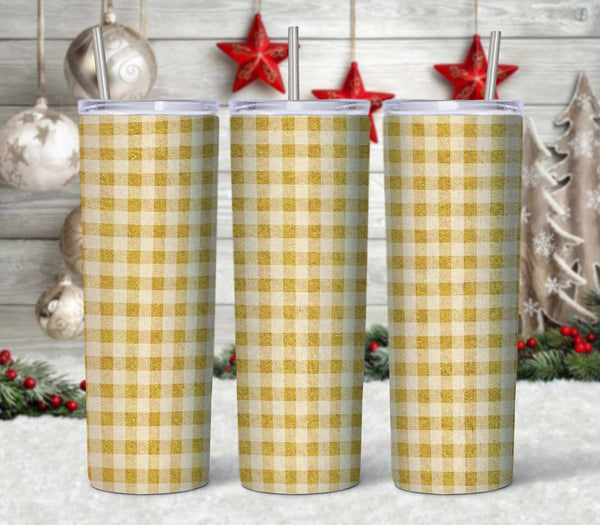 Yellow plaid  20 oz Double Walled Insulated Tumbler. CTD 107M