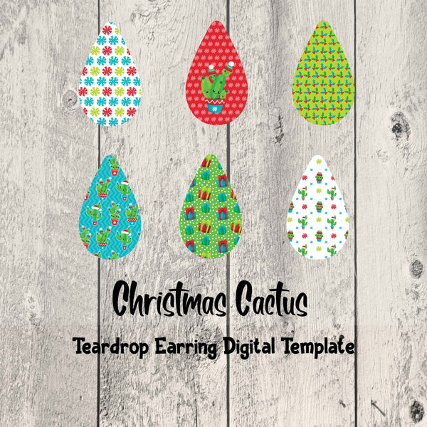 Christmas Cactus Teardrop Earrings Digital Template