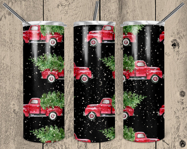 Christmas Trucks Straight or Tapered 20 oz Skinny Tumbler Sublimation Transfer