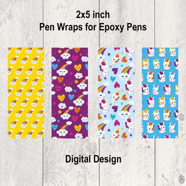 Unicorns and Rainbows Pen Wrap Digital Design
