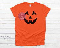 Distressed Pumpkin Face Youth Screenprint Transfer (Y-1)