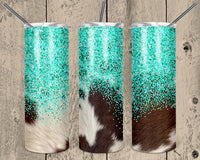 Cow Hide and Faux Turquoise Glitter 20 oz Double Walled Insulated Tumbler