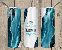 Turquoise Girl Boss Straight or Tapered 20 oz Skinny Tumbler Sublimation Transfer  EPC003