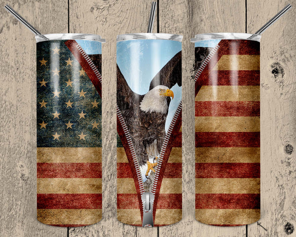 Patriotic Straight or Tapered 20 oz Skinny Tumbler Sublimation Transfer  EPC006