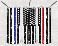 Thin Red Line Thin Blue Line Straight or Tapered 20 oz Skinny Tumbler Sublimation Transfer  GCW149