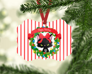 Grumpy Kitty Happy Holidays  Benelux Shaped Christmas Ornament