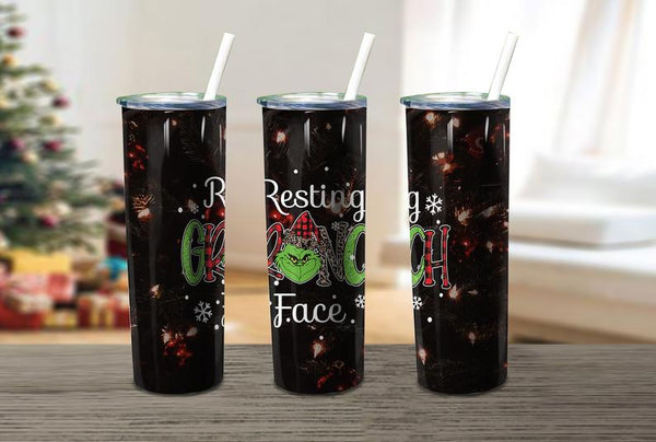 Grinch Straight or Tapered 20 oz Skinny Tumbler Sublimation Transfer JS002