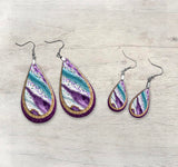 Teal and Purple Milky Way Teardrop Earring and/or Pendant   JSA001