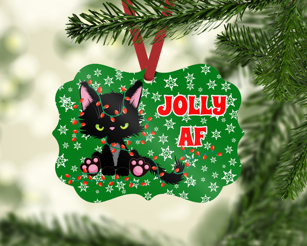 Grumpy Kitty Jolly AF Benelux Shaped Christmas Ornament