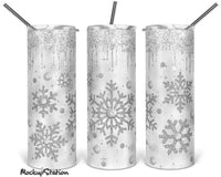 Silver Snowflakes 20 oz Double Walled Insulated Tumbler. MS001