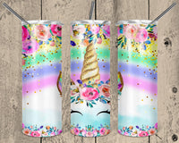 Unicorn Straight or Tapered 20 oz Skinny Tumbler Sublimation Transfer  NNT012