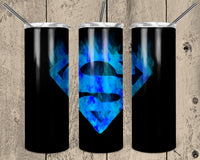 Superman Straight or Tapered 20 oz Skinny Tumbler Sublimation Transfer  NNT019
