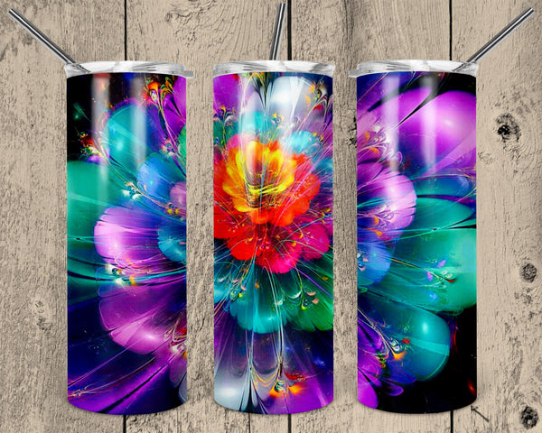 Exploding Flower Straight or Tapered 20 oz Skinny Tumbler Sublimation Transfer  NNT030