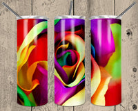 Colorful Rose Straight or Tapered 20 oz Skinny Tumbler Sublimation Transfer  NNT035