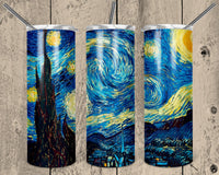 The Starry Night Straight or Tapered 20 oz Skinny Tumbler Sublimation Transfer  NNT038