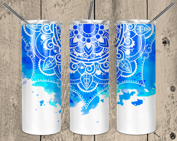 Blue Mandala Straight or Tapered 20 oz Skinny Tumbler Sublimation Transfer  NNT042