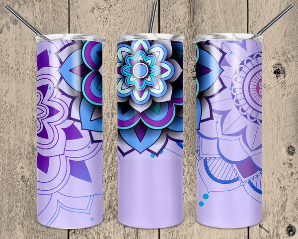 Purple Mandala Straight or Tapered 20 oz Skinny Tumbler Sublimation Transfer  NNT048