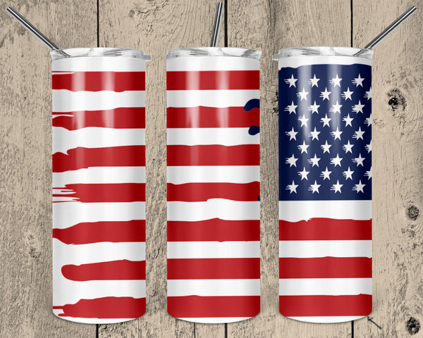 American Flag Straight or Tapered 20 oz Skinny Tumbler Sublimation Transfer  NNT178