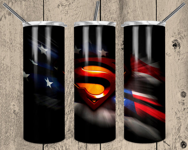 Superman Straight or Tapered 20 oz Skinny Tumbler Sublimation Transfer  NNT018