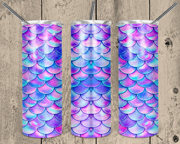Mermaid Scales Straight or Tapered 20 oz Skinny Tumbler Sublimation Transfer  NNT212