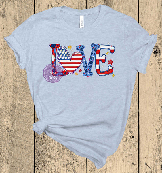 Patriotic Love Screenprint Transfer J11