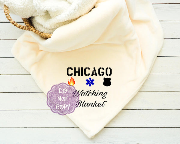 Chicago TV Watching Blanket Sublimation Transfer     RBD043