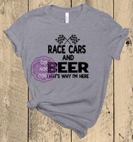 Race Cars and Beer Screenprint Transfer (AB-14)